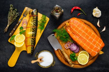 Smoked fish with Cooking Ingredients