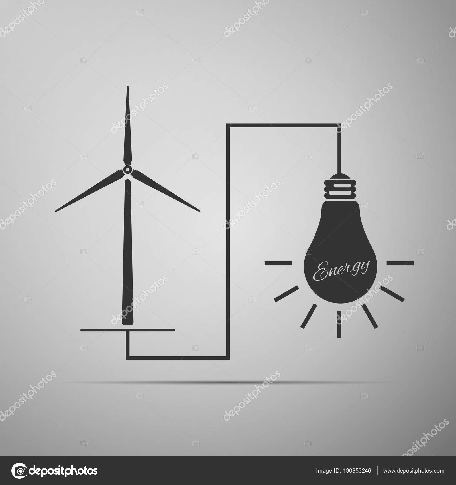 Wind mill turbine generating power energy and glowing light bulb ...