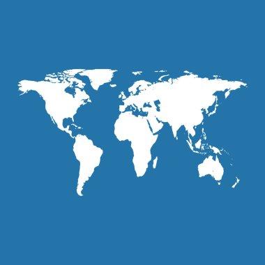World map on blue background. Vector Illustration