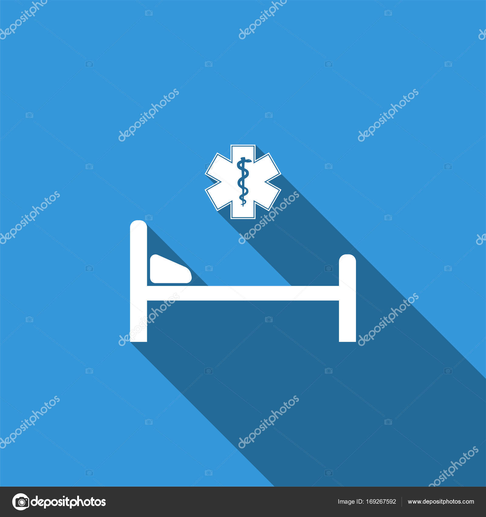 Hospital Bed With Medical Symbol Of The Emergency Star Of Life
