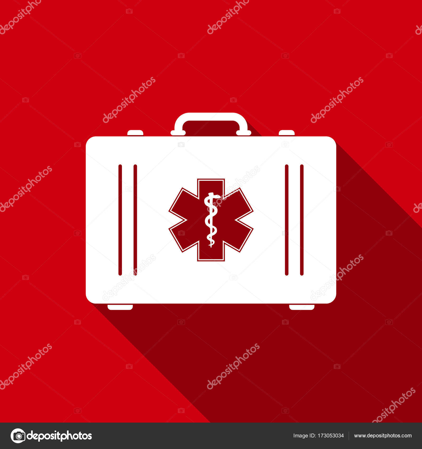 First Aid Box And Medical Symbol Of The Emergency Star Of Life