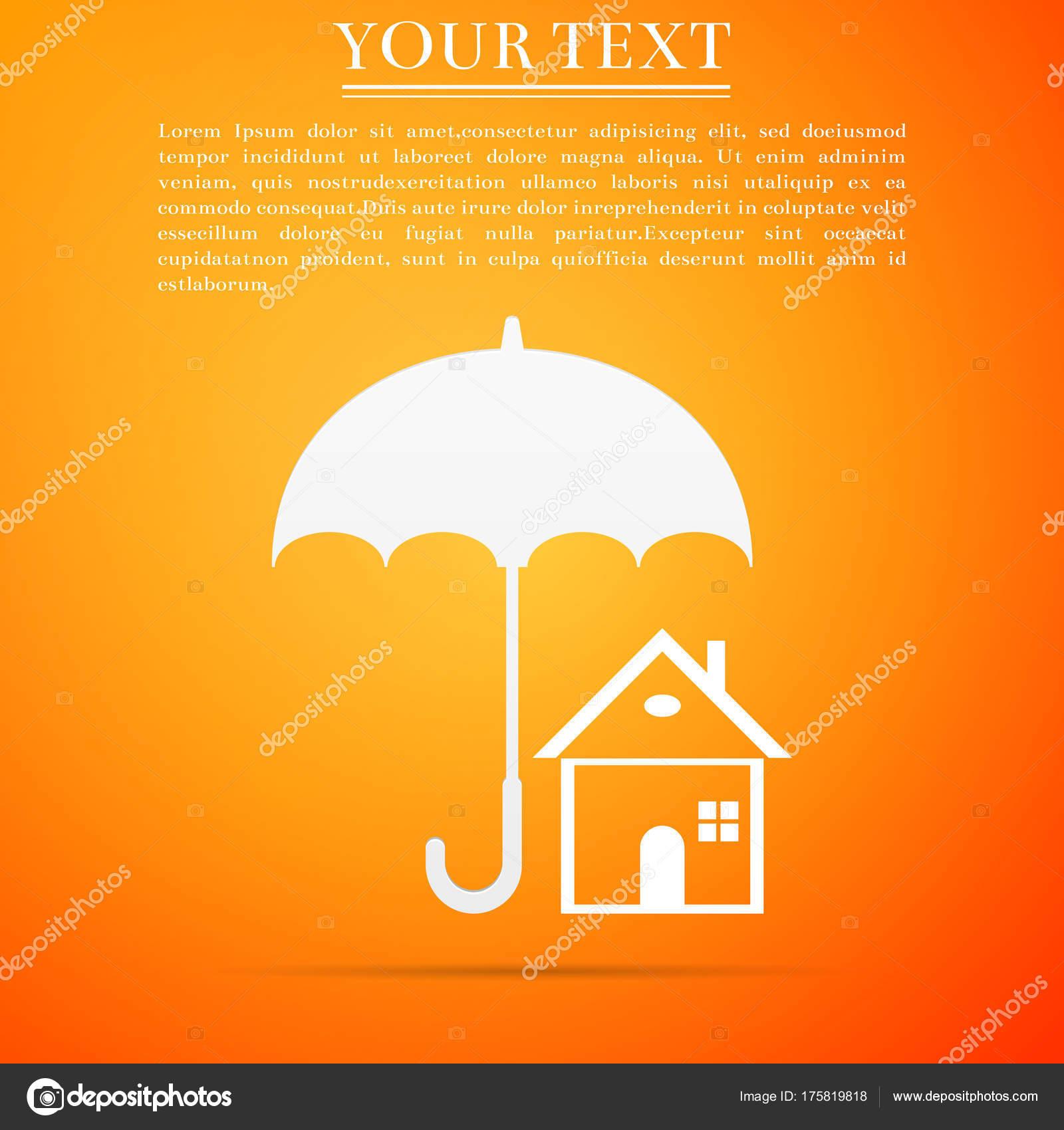 House With Umbrella Icon Isolated On Orange Background Real Estate