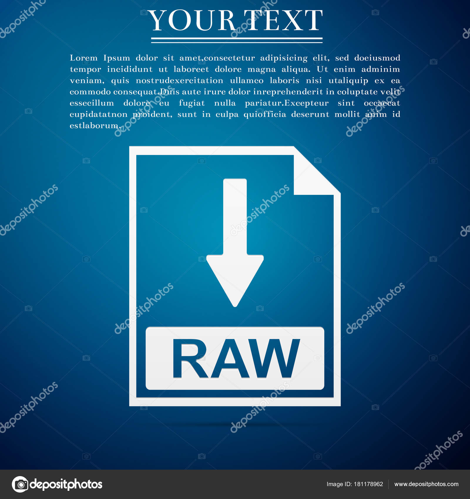 RAW file document icon  Download RAW button icon isolated on blue