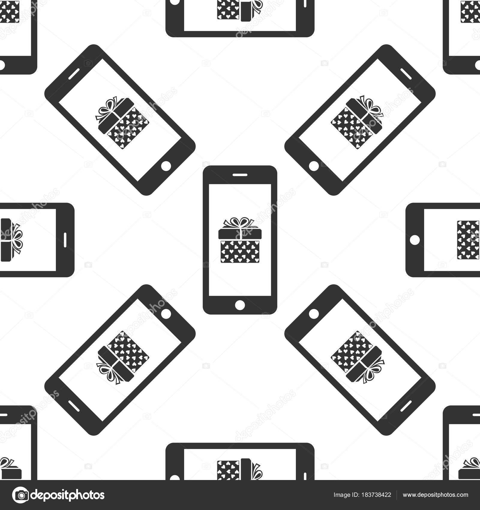 Smartphone mit Geschenk-Box und Herz-Symbol auf dem Bildschirm ...