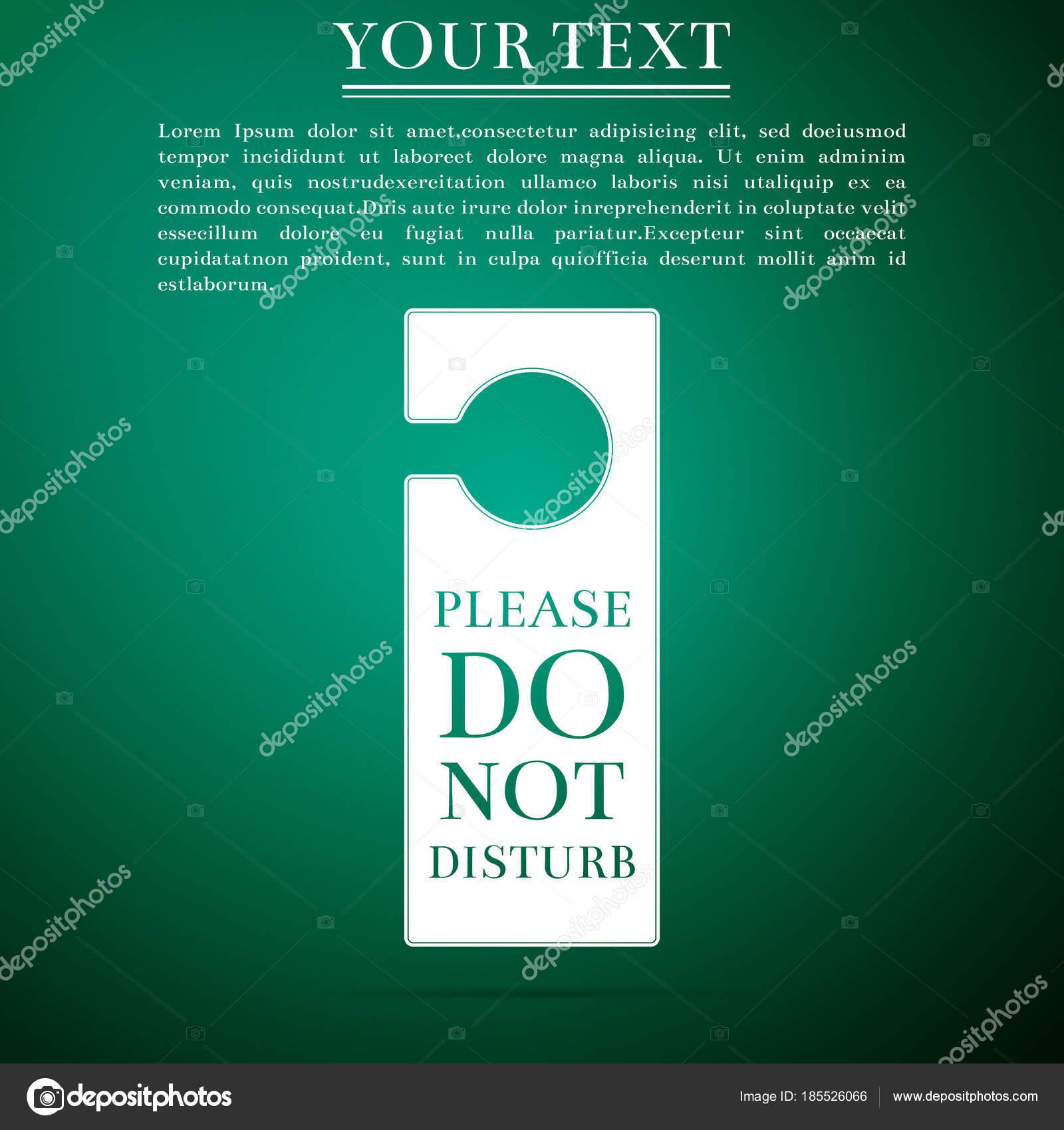 Bitte nicht stören Sie Symbol isoliert auf grünem Hintergrund. Hotel ...