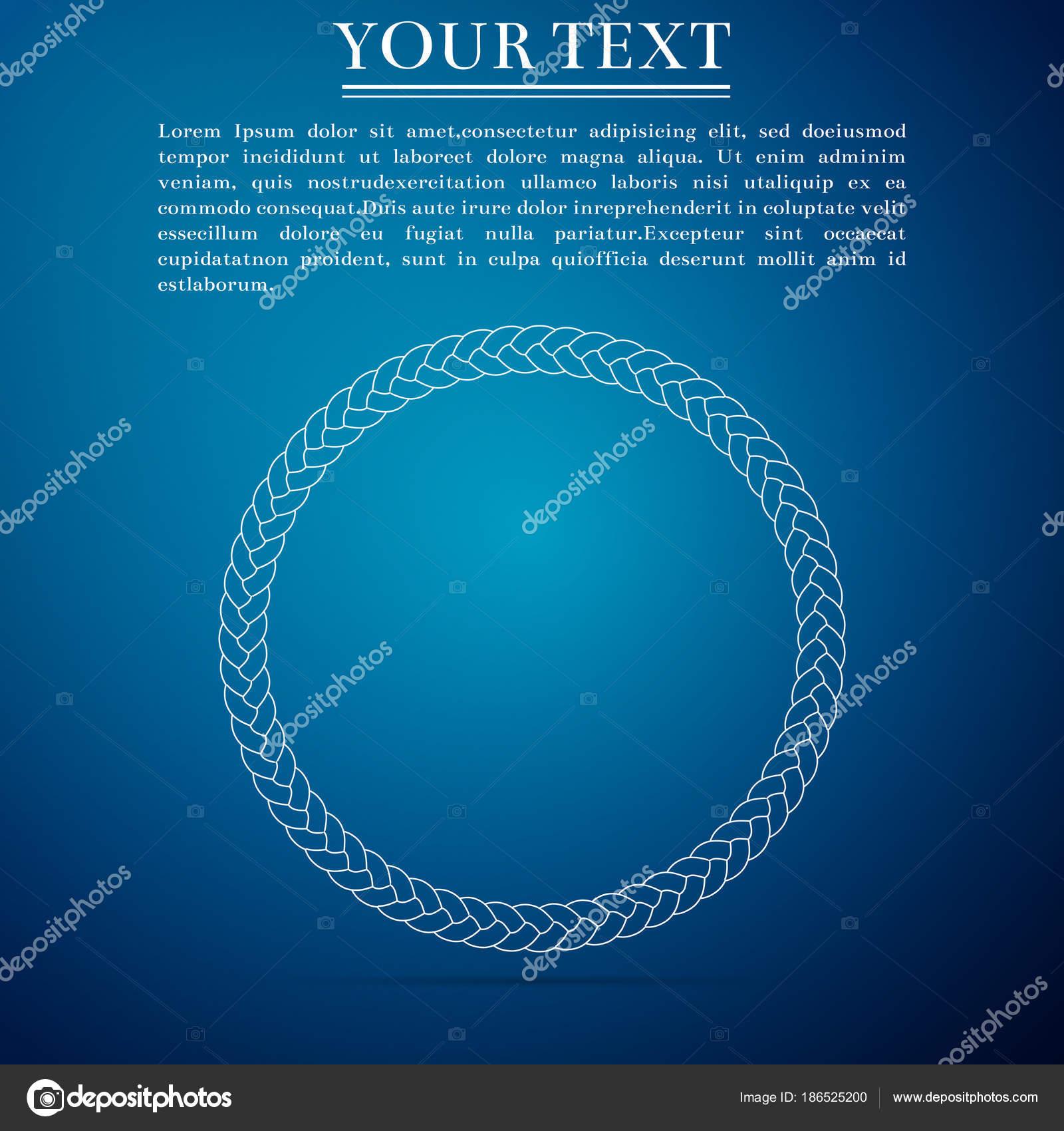 Seil-Frame-Symbol auf blauem Hintergrund isoliert. Rahmen von ...