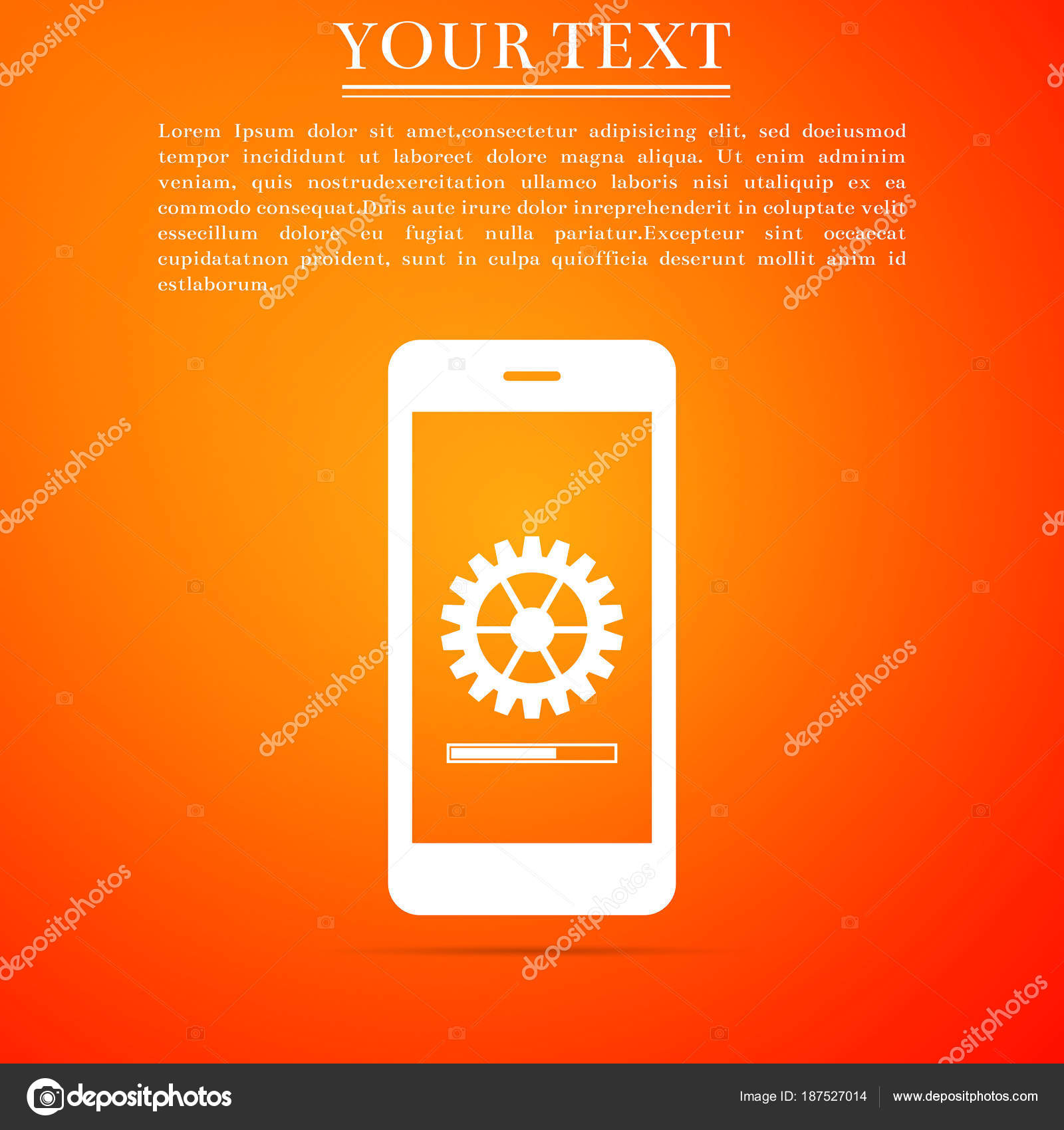 Smartphone Update Process With Gearbox Progress And Loading Bar Icon Isolated On Orange Background System Software Upgrade Concept