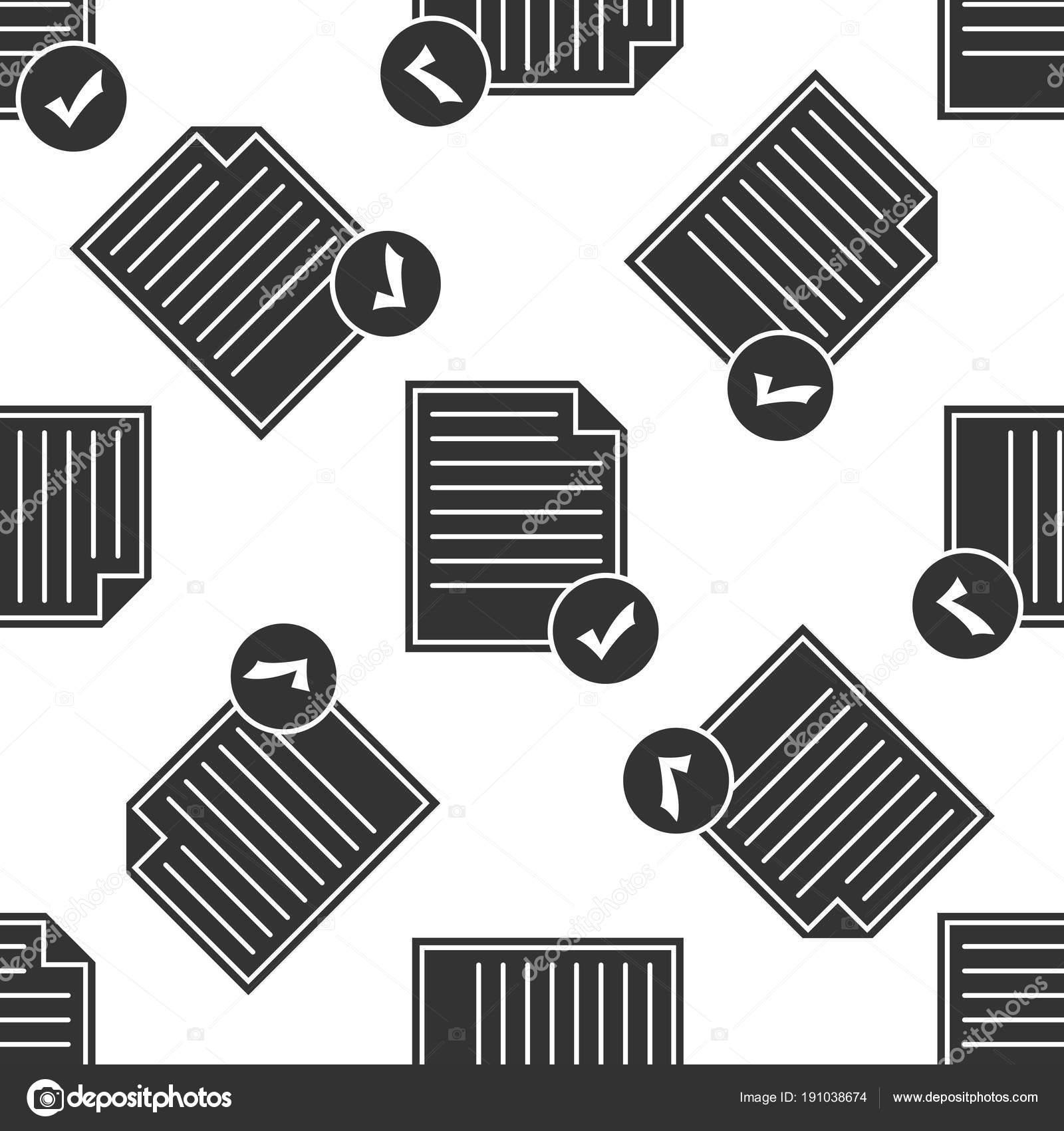 Documento y la casilla de verificación icono de patrones sin fisuras ...