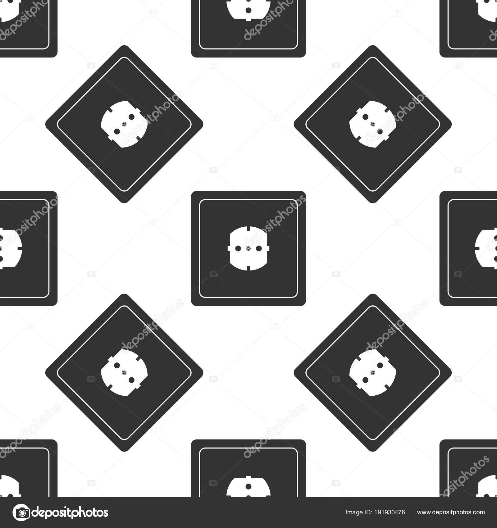 Electrical Outlet Icon Seamless Pattern On White Background Power