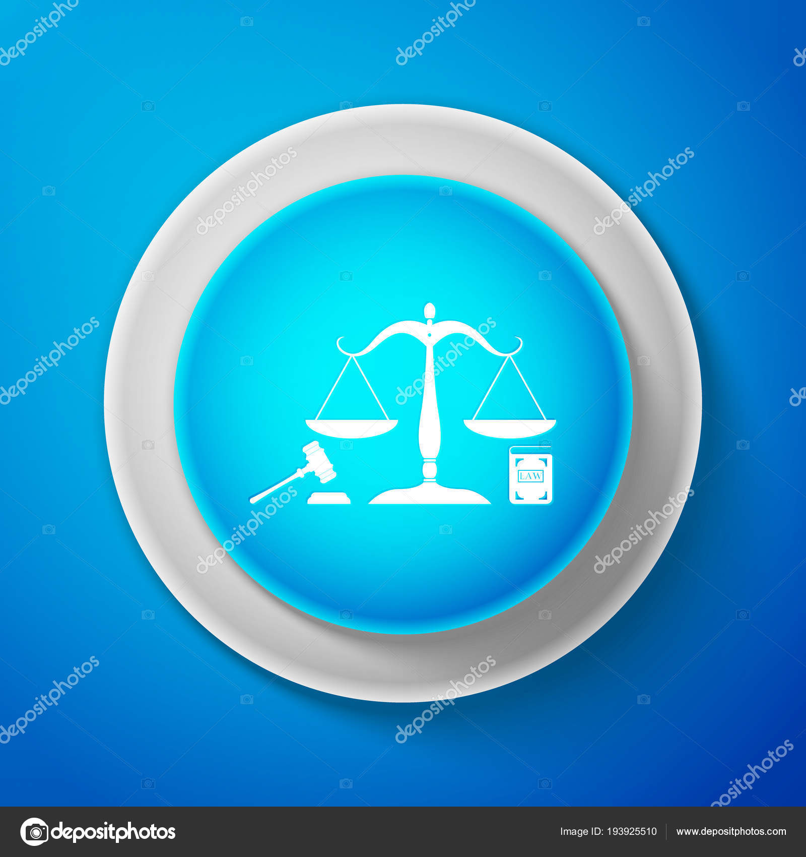 White Scales Of Justice Gavel And Book Icon Isolated On Blue