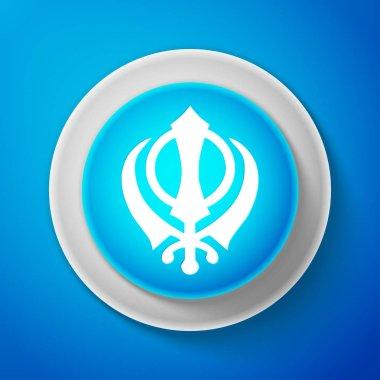 White Sikhism religion Khanda symbol icon isolated on blue background. Khanda Sikh symbol. Circle blue button with white line. Vector Illustration