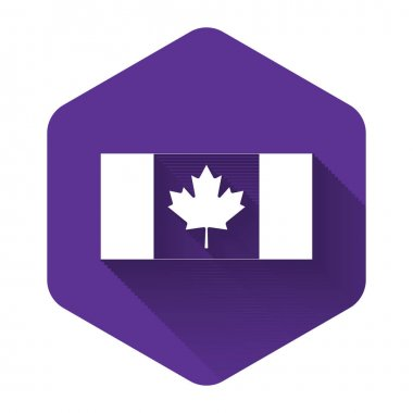 White Canada flag icon isolated with long shadow. Purple hexagon button. Vector Illustration