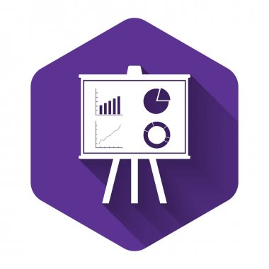 White Presentation financial business board with graph, chart, diagram, pie graph icon isolated with long shadow. Infographic board sign. Purple hexagon button. Vector Illustration