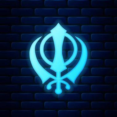Glowing neon Sikhism religion Khanda symbol icon isolated on brick wall background. Khanda Sikh symbol. Vector Illustration