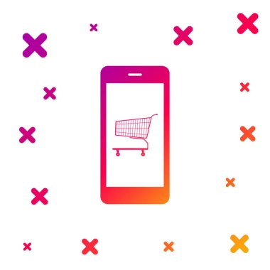 Color Online shopping concept. Shopping cart on screen smartphone icon on white background. Concept e-commerce, e-business, online business marketing. Gradient dynamic shapes. Vector Illustration