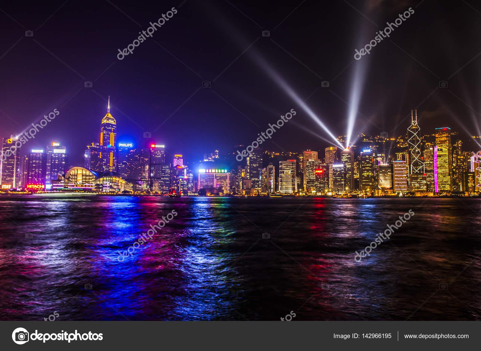 Hong Kong Sinfonia De Luzes U2014 Fotografia De Stock