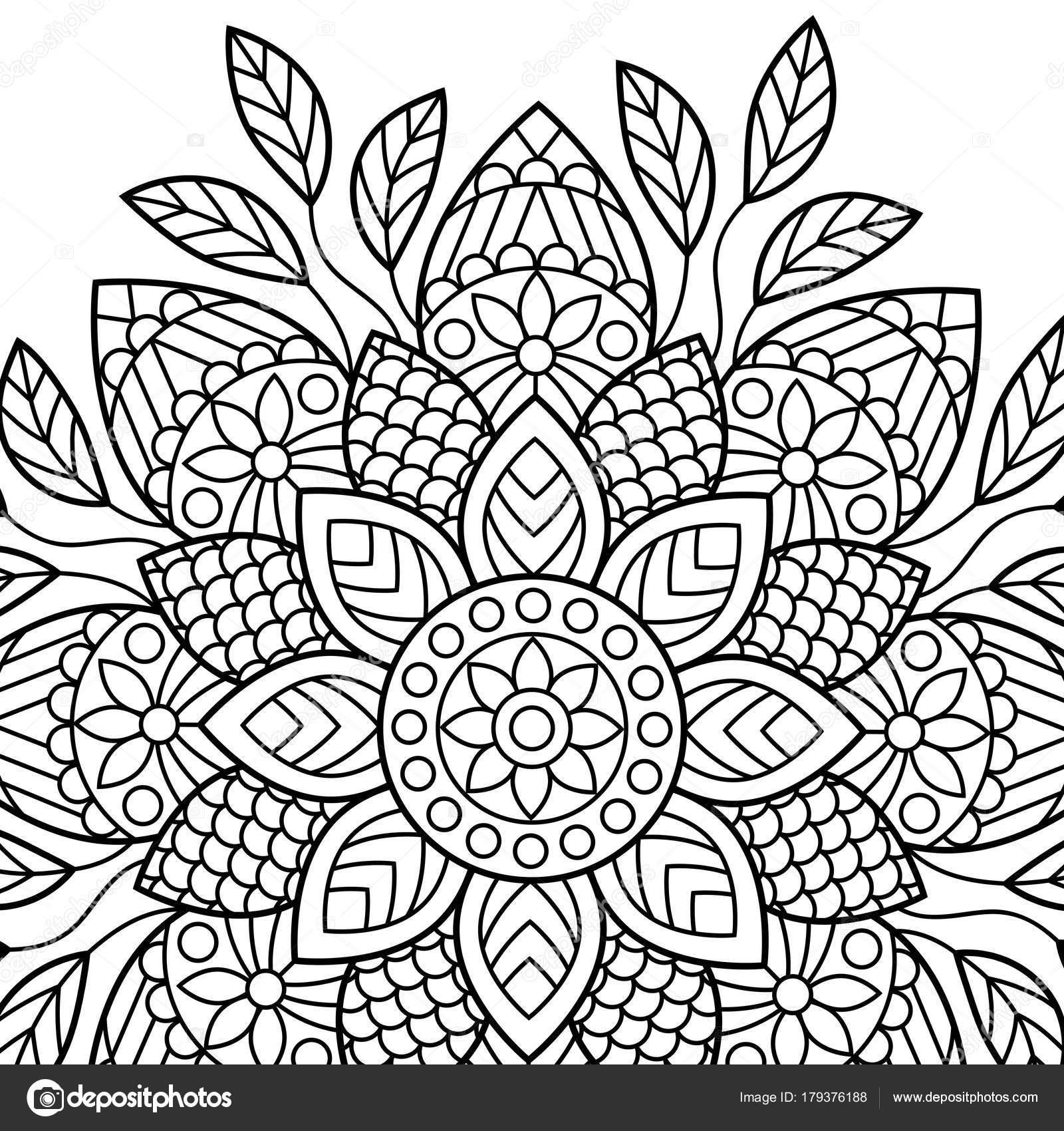 Boyama Kitabi Sayfalari Mandala Hint Antistress Madalyon Stok