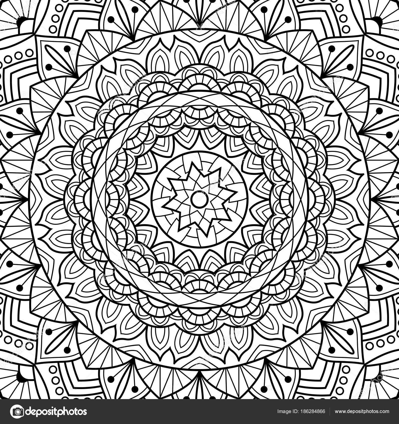Dibujos para colorear libro. Mandala. India medallón antiestrés ...
