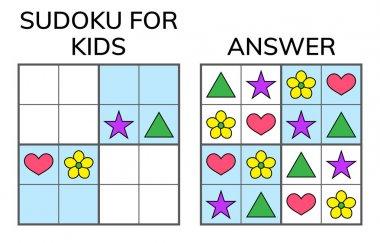 Sudoku. Kids and adult mathematical mosaic. Magic square. Logic