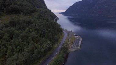 Top view of a beautiful seascape. Norway, Europe. Mountains, sea and view of the Norwegian fjord