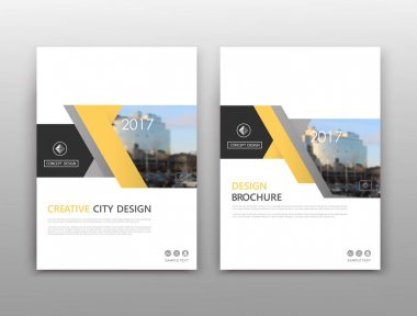Abstract composition. White a4 brochure cover design. Info banner frame. Text font. Title sheet model set. Modern vector front page. City view texture. Yellow figure image icon. Elegant ad flyer fiber