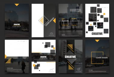 Abstract a4 brochure cover design. Templates for flyer, ad text font, info banner frame or title sheet model set. Modern vector front page art with urban city street texture. Yellow square figure icon