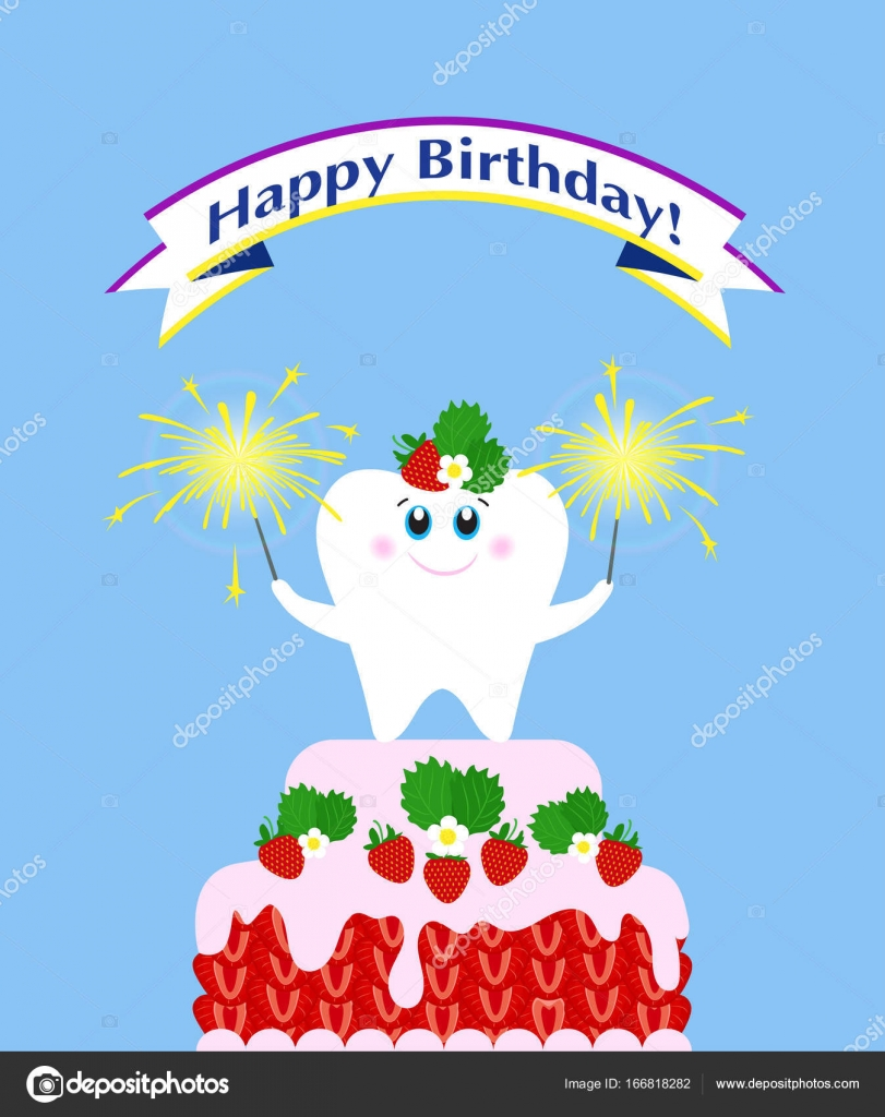 Poster Happy Birthday Cute Tooth On A Strawberry Cake With