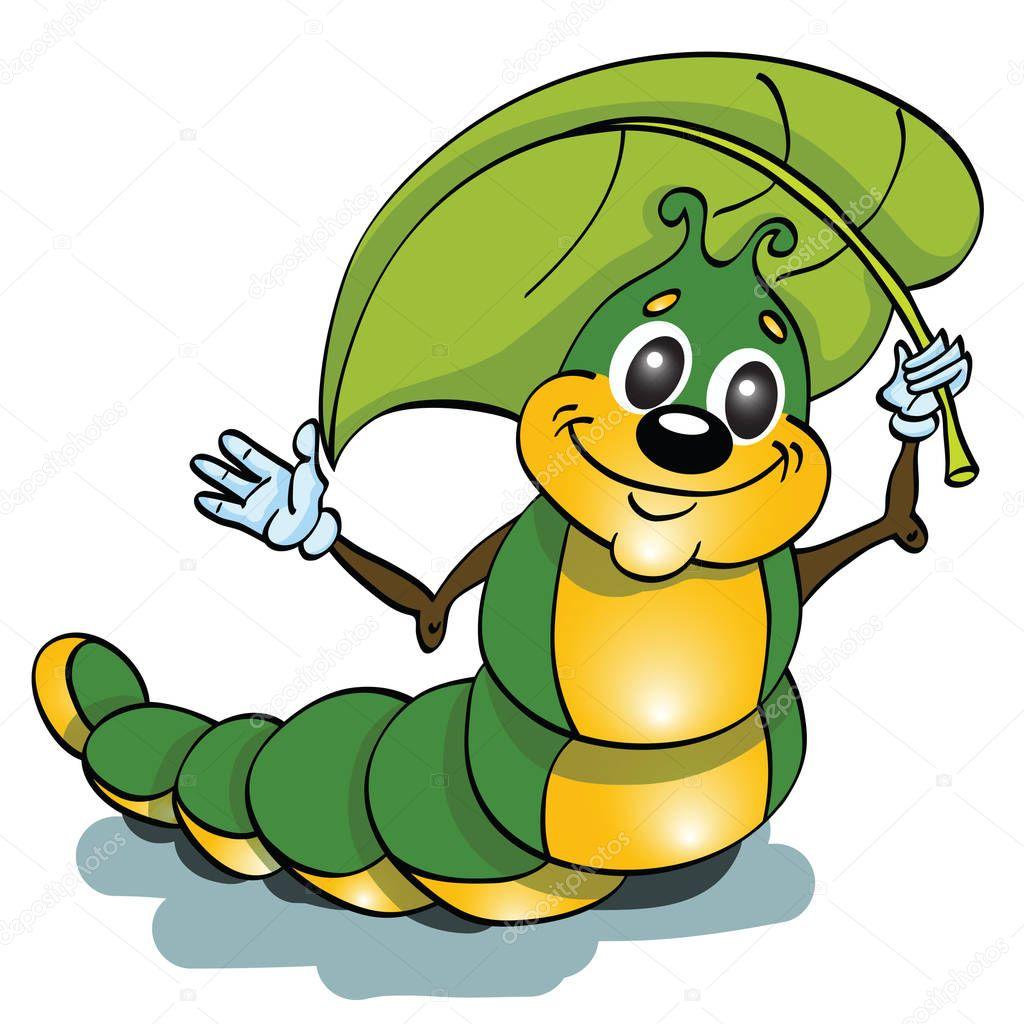 Funny green caterpillar