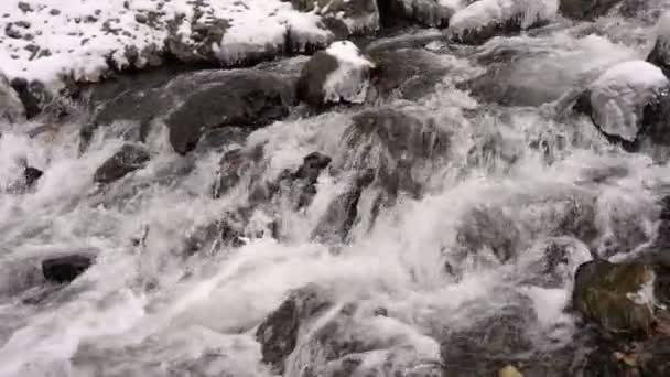 Cascades Waterfall on a Mountain River in Winter Snowfall Slow Motion