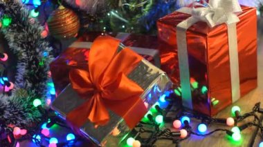 Christmas Gifts Under the Christmas Tree Close-Up Camera Motion ...
