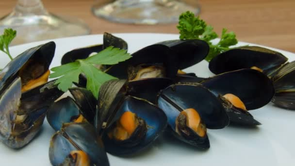 Close-up of cooked mussels with shells