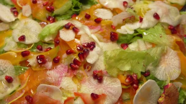 Salad with vegetables and pomegranate and puff pastry hunting soup