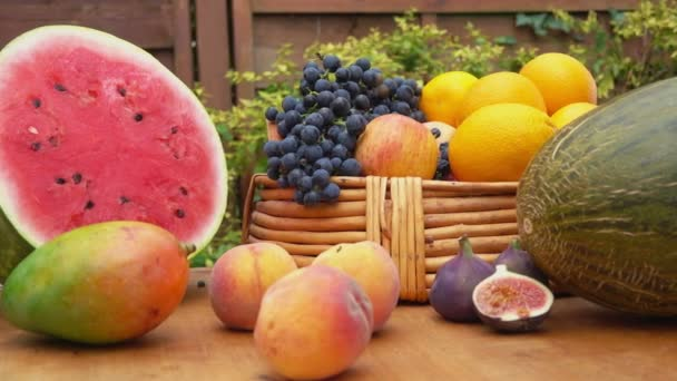 Camera movement along a still-life of fresh fruit