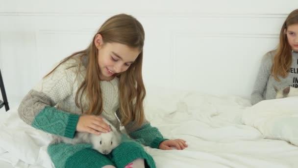 glückliches Mädchen streichelt ein niedliches graues Kaninchen