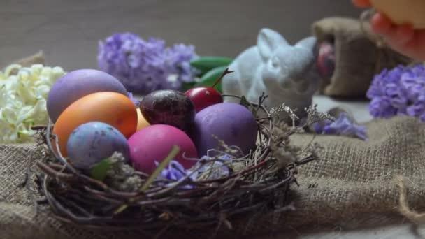 Ruka dává velikonoční vajíčko do hnízda na pozadí jarních květin