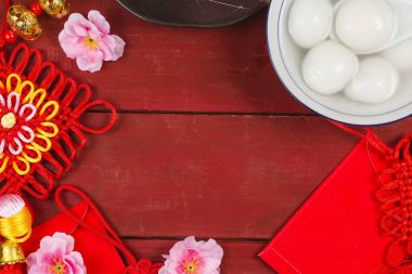 Chinese Lantern Festival food,ang pow or red packet and gold ing