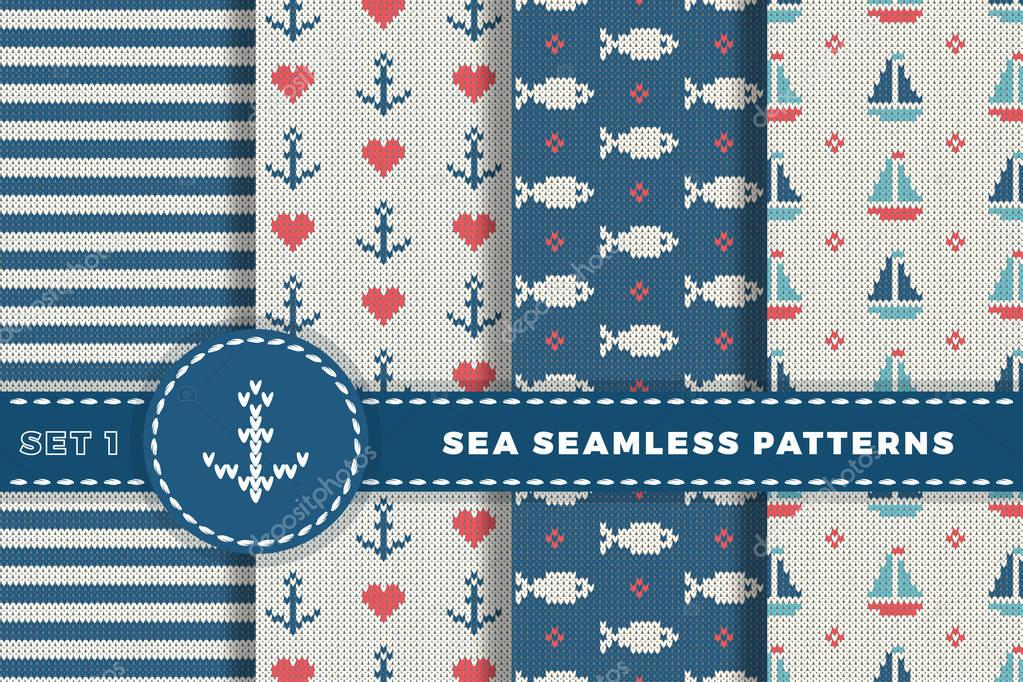 Sea and nautical backgrounds in white, turquoise, red and dark blue colors. Sea theme. Set seamless patterns collection. Woolen knitted texture. Vector Illustration.