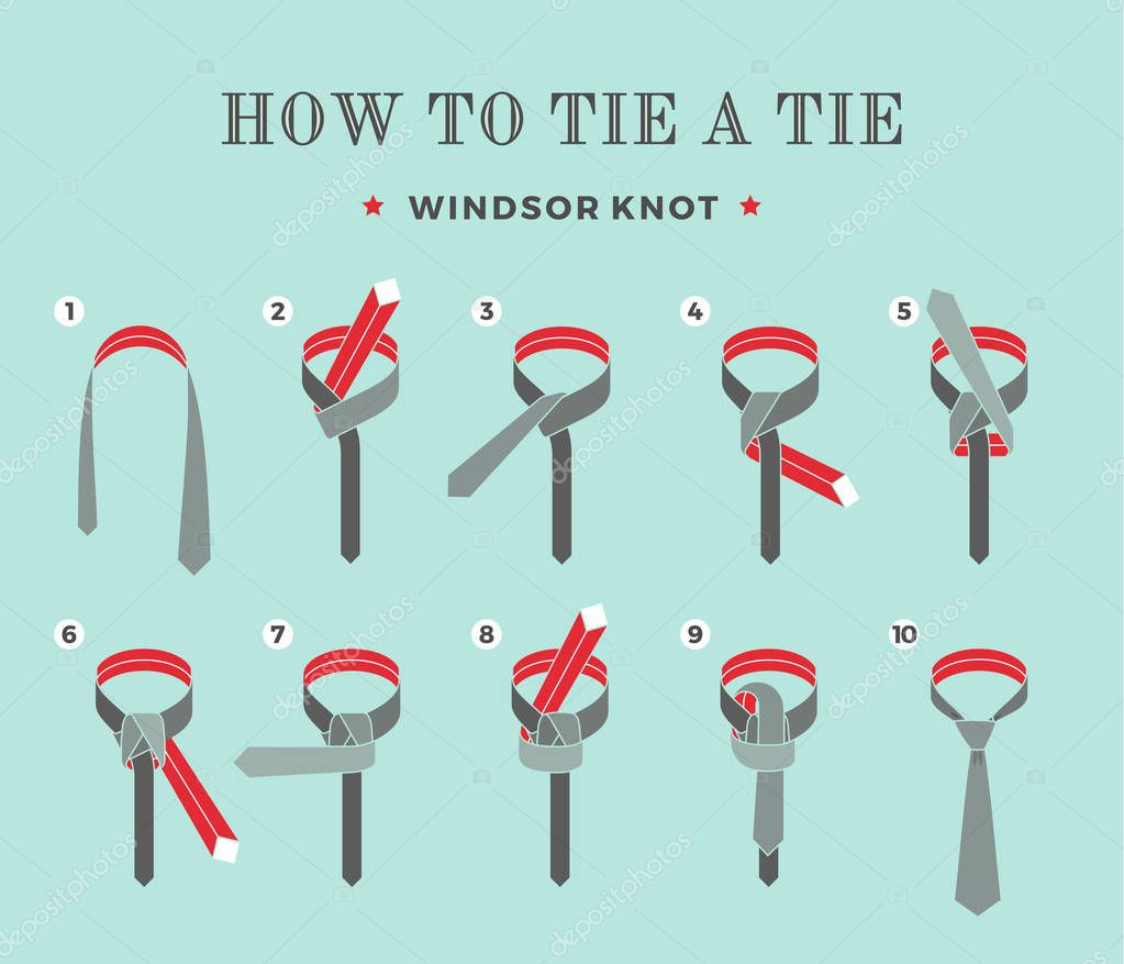 Instructions on how to tie a tie on the turquoise background of the instructions on how to tie a tie on the turquoise background of the eight steps ccuart Image collections