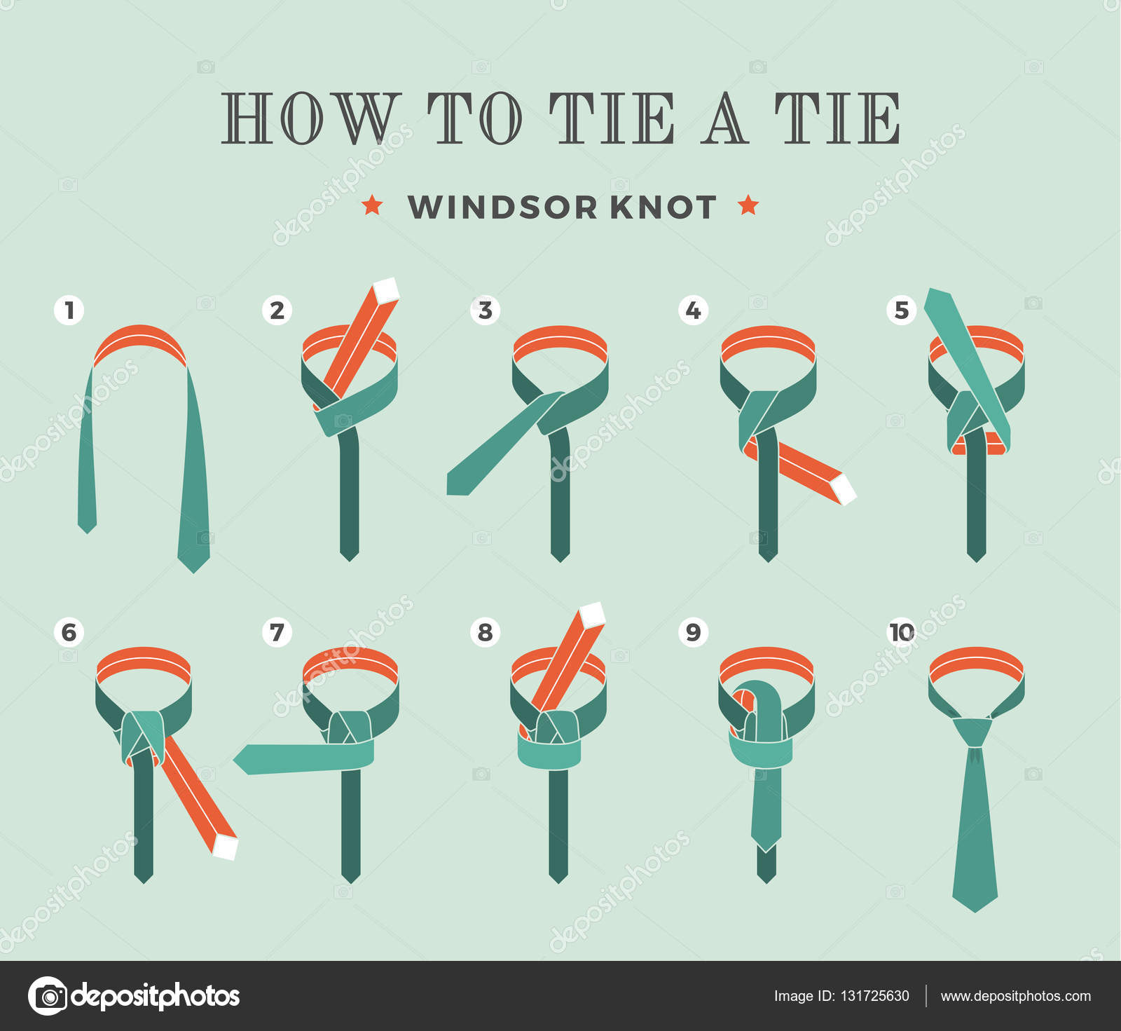 Instructions On How To Tie A Tie On The Turquoise Background Of The Eight  Steps Windsor