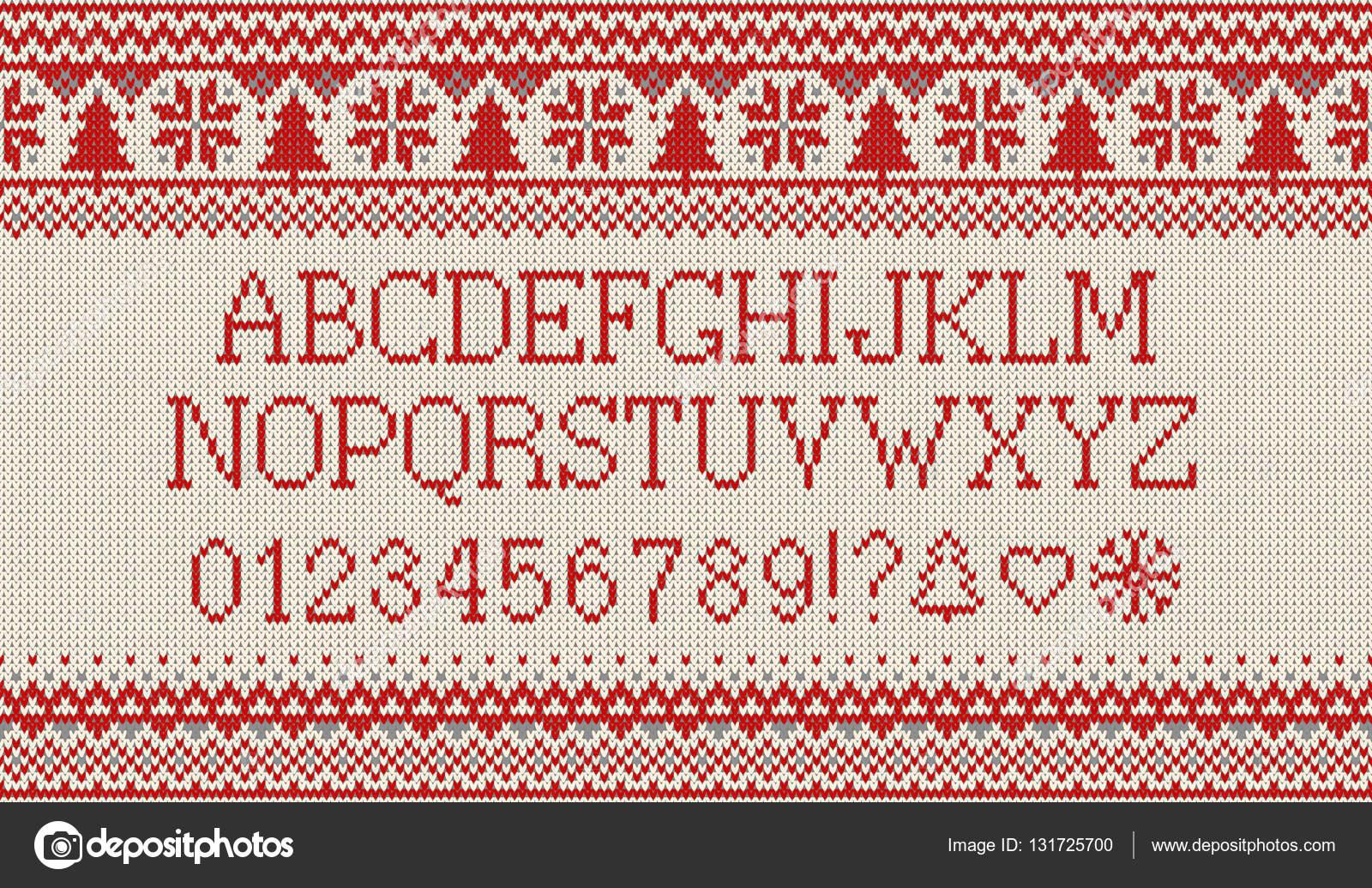 Natale In Latino.Carattere Di Natale Alfabeto Latino A Maglia Su Reticolo
