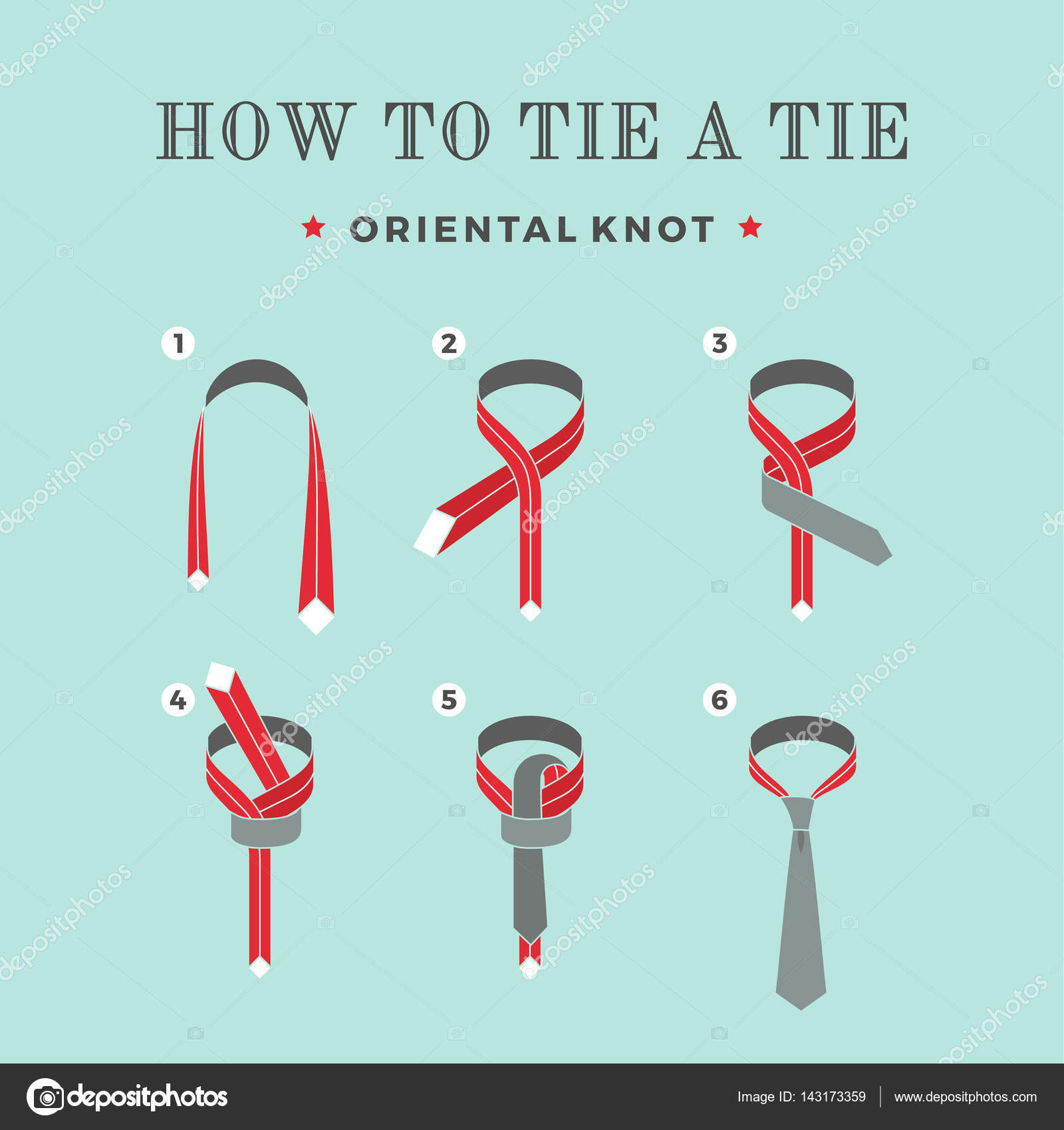 Instructions on how to tie a tie on the turquoise background of instructions on how to tie a tie on the turquoise background of the six steps ccuart Choice Image