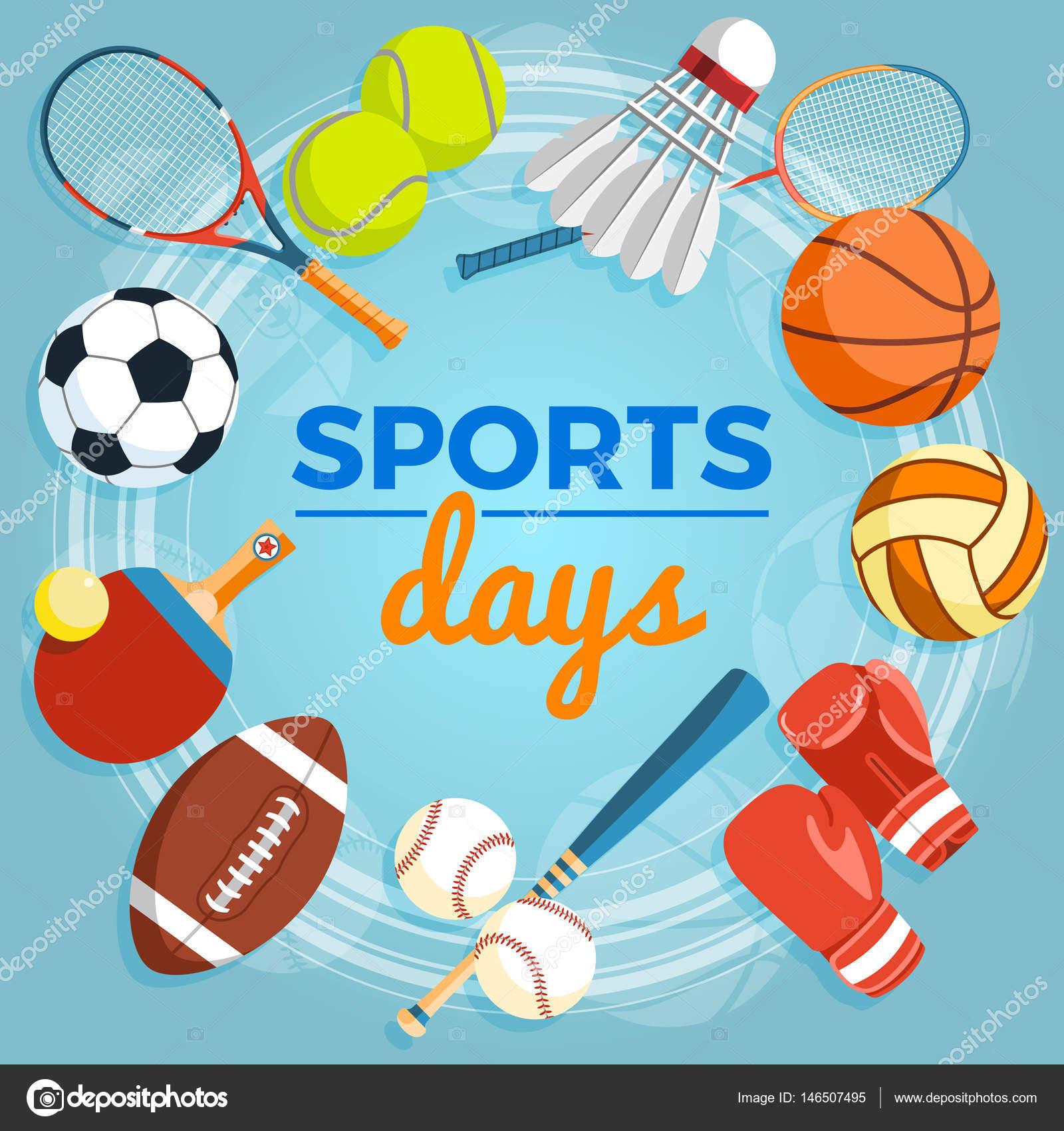 e789628891b62b Набір кулі барвисті спорту та ігор предмети на синьому тлі. Кулі для регбі,  волейбол, баскетбол, футбол, бейсбол, теніс, бадмінтон shuttlecock.