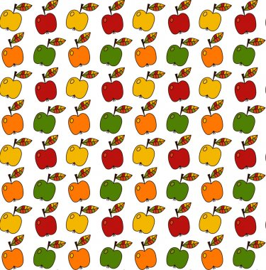 Hand drawn apple seamless vector pattern