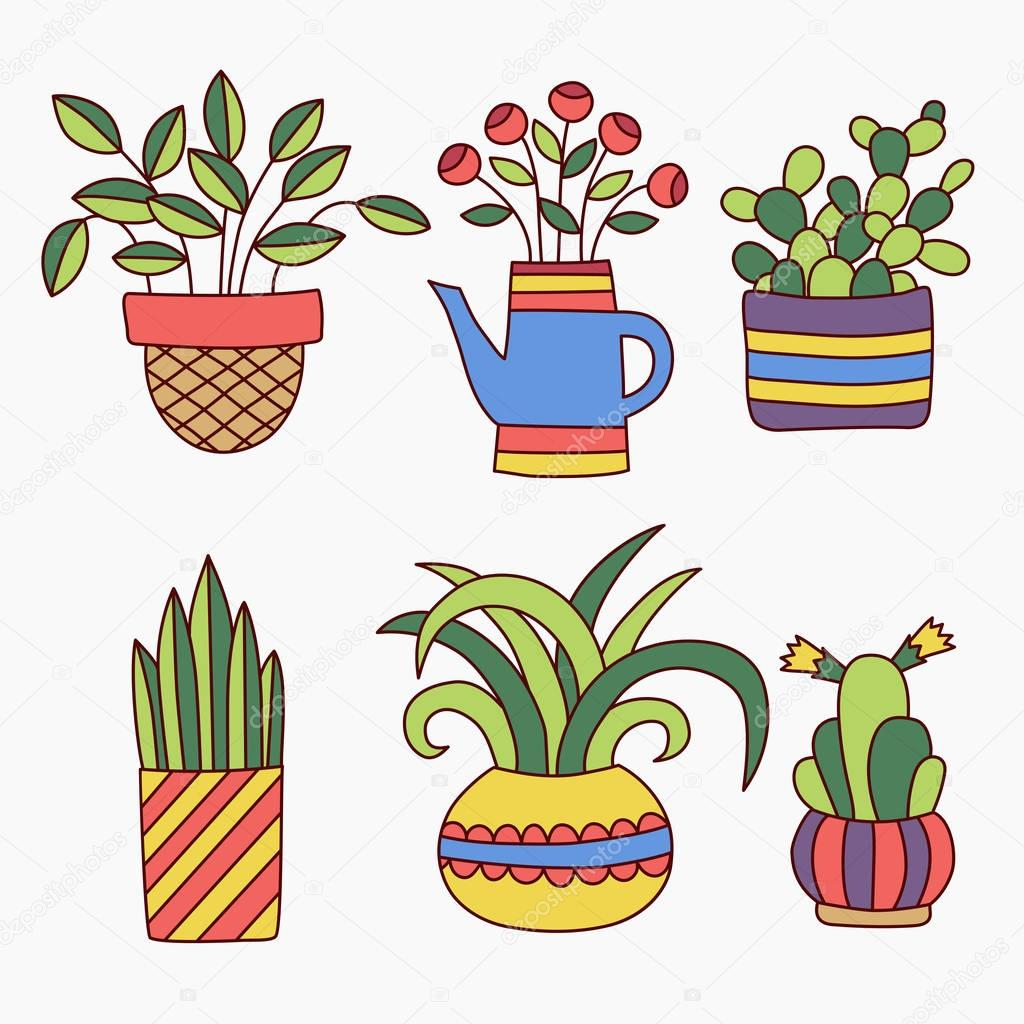 Cute Plants In Flower Pots Doodles Collection Vector Image By C Olizabet Vector Stock 130293360