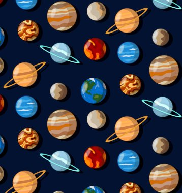 Planets universe seamless vector pattern