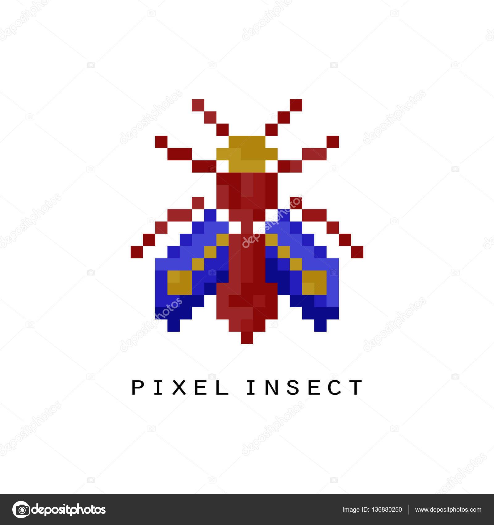 fliegende insekten pixel symbol stockvektor 136880250. Black Bedroom Furniture Sets. Home Design Ideas