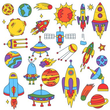 Outer space cute doodles collection