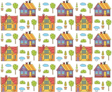 Cute houses pattern