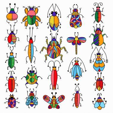 Colorful bugs set