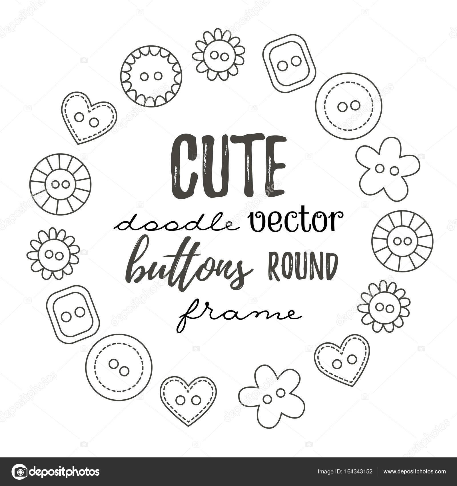Doodle botones redondo marco — Vector de stock © Olizabet #164343152